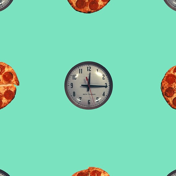 (Clock/Pizza - Turquoise) by John Baldessari