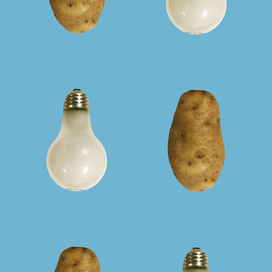(Potato/Lightbulb - Blue) by John Baldessari