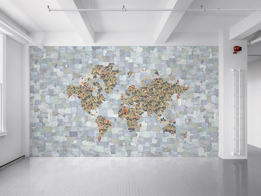 Maharam Product MDP Stamp World Map - Floor to ceiling world map