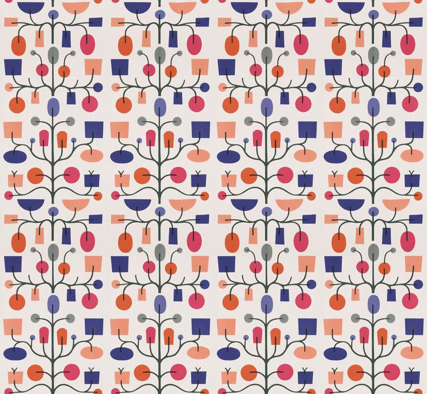 Maharam Product Textiles Fruit Tree 002 Crimson And
